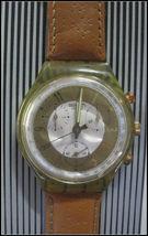 SWATCH Watch Brown Leather Straps Swiss Made 22 Jewels Wristwatch Chrono Men's image 3