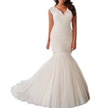 Long Mermaid Lace Wedding Dress Plus Size 2017,Wedding Gown,Bridal Dress  - $209.00