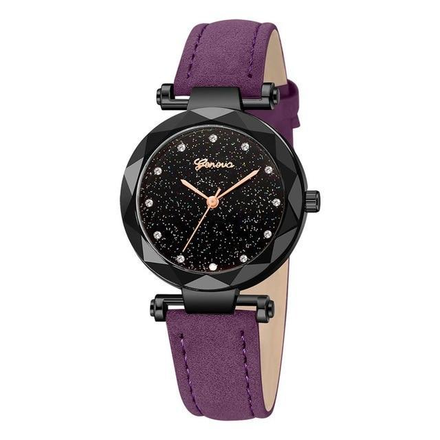 Women Watches Geneva Brand Starry Sky Dial Ladies Fashion Quartz Wristwatch Simp