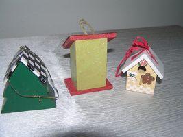Vintage Lot of 3 Red & Cream Painted Wood & Metal Checkboard Roof Gingerbread  image 5