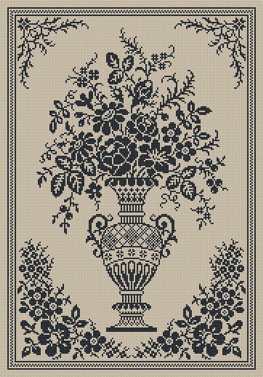 monochrome vintage floral vase counted cross stitch pattern pdf flowers gardens nature. Black Bedroom Furniture Sets. Home Design Ideas