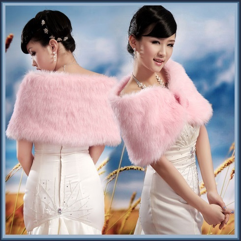 Fluffy Pink Faux Fur Evening Capet Shrug Wrap