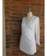 ANN TAYLOR Faux Wrap Top Size L Rayon Blend Ruched White 3/4 Sleeve - $14.27
