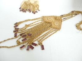 Vintage Open Back Prong Set Amethyst Crystal Glass Earrings 3 Chain Neckace - $199.00