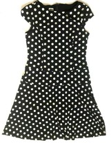 Anne Klein Polka Dot Dress 12 Stretch Black White Shift Cap Sleeves - $26.91