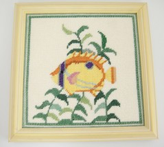 "Tropical Fish Needlepoint Picture Framed Yellow Wood 9"" Square Wall Decor - $16.82"