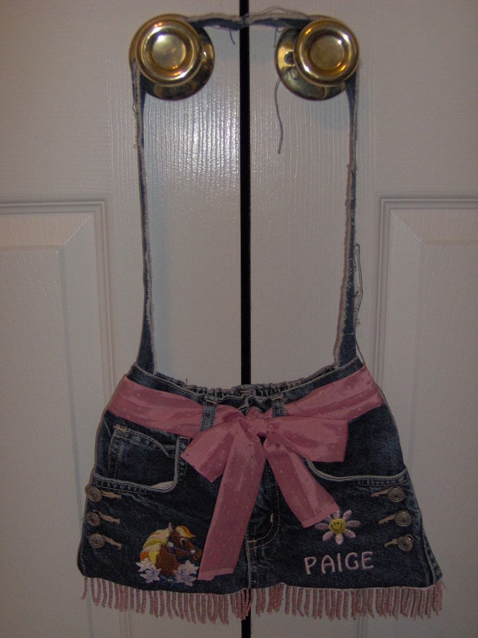 Custom made westesrn style blue jean purse
