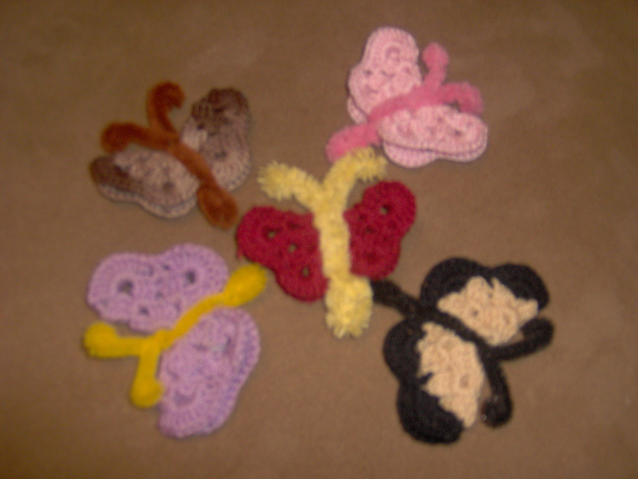 crochet butterfly magnet or pin