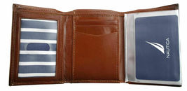 Nautica Men's Leather Credit Card Passcase Wallet Trifold Tan 31NU11X017 image 5