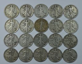 20 Different Walking Liberty circulated silver half dollars  - $250.00