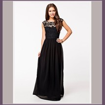 Crochet Top Floor Length Formal Sleeveless Backless Chiffon Evening Prom Gown  image 2