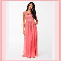 Crochet Top Floor Length Formal Sleeveless Backless Chiffon Evening Prom Gown  image 3