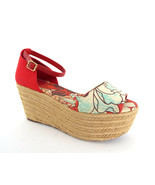 TORY BURCH Size 9 SHERRI Red Floral Canvas Platform Espadrilles Sandals ... - $99.00