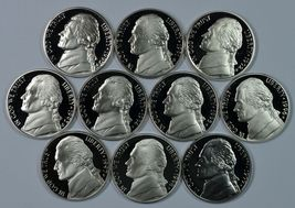 1990 - 1999 S Jefferson Proof nickel set - $16.00