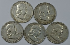 5 1951 Franklin circulated silver half dollars $2.50 face value - $52.00