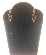 Black Enamel Gold Toned Leaf Post Earrings 30 x... - $3.91