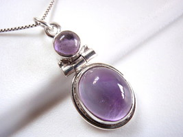 Amethyst Pendant 925 Sterling Silver Double-Gem Round Oval New #114z - €7,26 EUR