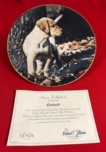 Larry Chandler Puppy Portrait Collector Plate, Custard, Labrador, Lenox - $21.97