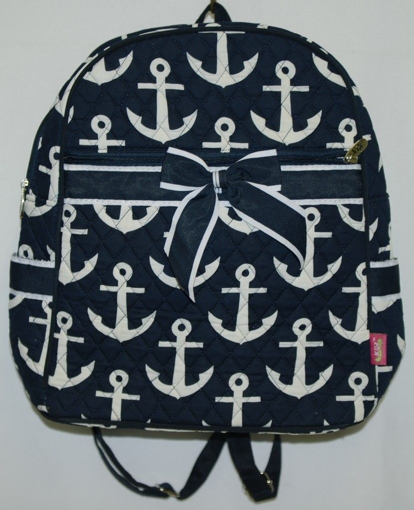 NGIL DDT2828NY Navy and White Colored Quilted Anchor Backpack