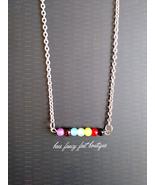 Mini chakra bead and chain necklace thumbtall