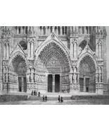 FRANCE Amiens Cathedral Western Portal - SUPERB 1843 Antique Print - $18.00