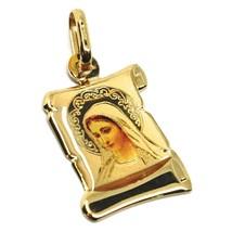 Colgante Medalla de Oro Amarillo 750 18K, María Medjugorje Pergamino Esm... - $140.24