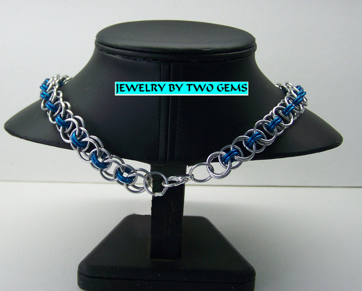 Jewelry By Two Gems (C17) Aluminum Parallel Chain in Silver & Blue