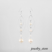 Sterling Silver Dangle Earrings with Natural White Pearls - $19.95