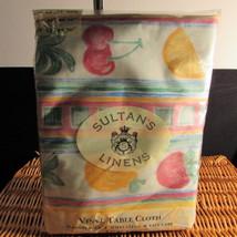 """Vinyl Table Cloth - Fruit Design 52""""x70"""" Oblong by: Sultan's Linens"""