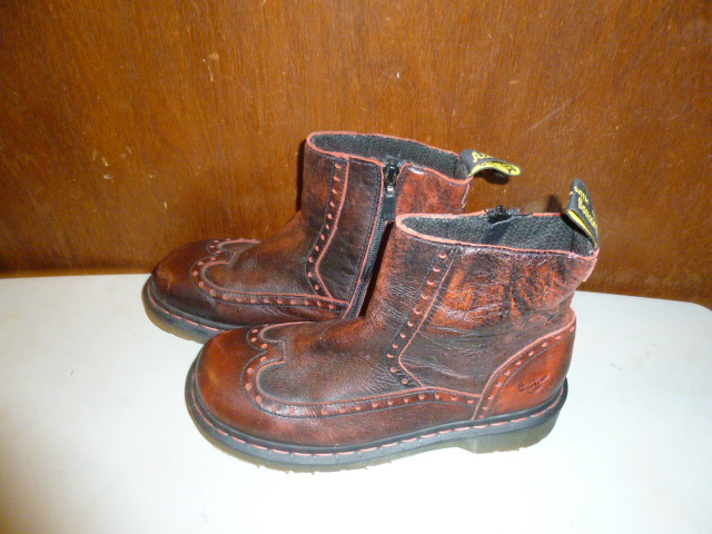 Mens Dr Martens Red Antiqued Finish Zippered Ankle Boots