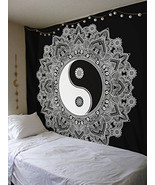 Yin Yang Mandala Wall Hanging Tapestry, 84 x 54in Black White Polyester ... - $17.81