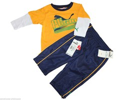 New  Puma Kids Boys Athletic Outfit Set  Top Pants Yellow Blue 12 Months - $42.57