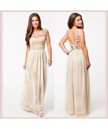 Crochet Top Floor Length Formal Sleeveless Backless Chiffon Evening Prom Gown  - $56.95