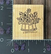 Stampin' Up! Basket Of Flowers Rubber Stamp 1999 Wood Mount #V135 - $2.72