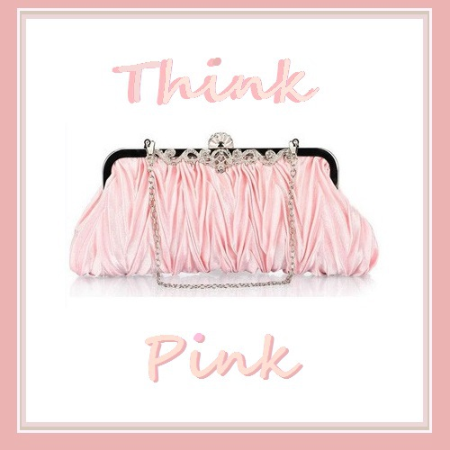 Ruched Pink Silk Satin and Rhinestones Clutch with Chain Evening Party Handbag