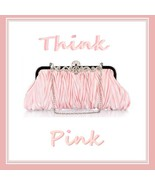 Ruched Pink Silk Satin and Rhinestones Clutch with Chain Evening Party H... - $49.95