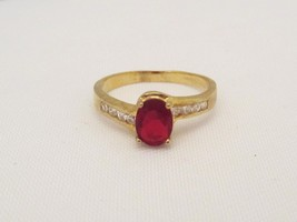 Vintage Sterling Silver Gold Vermeil Ruby & CZ Ladies Ring Size 9.75 - $25.00