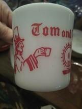Hazel Atlas HA Tom & Jerry Christmas Caroler & candle  Mug Milk Glass   Cup - £4.46 GBP