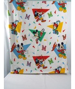 Preowned Disney Mickey Mouse Twin Size Flat Cotton Lighter Weight Flanne... - $17.81