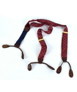 Vtg 1980s Suspenders CAS Polka Dot Braces Red Leather Strap Adjustable W... - $19.79