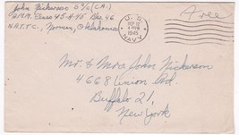 WORLD WAR II FREE MAIL US NAVY SEPTEMBER 12 1945 AMM CLASS 45 - $2.98