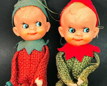 "Vintage 1950's Lot 2 Burlap Elf Rubber Face 5"" Pixie Knee Hugger Shelf Elves"