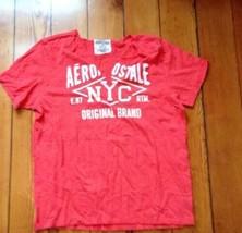 Aeropostale NYC E.87 Original Brand coral T-shirt Split V-neck Shirt Sz XL - $14.44
