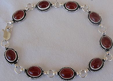 Red agate silver bracelet