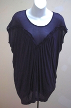 New French Connection M Top Blue Draped Shirred Tunic NWT $118 Style 76AB5 - $45.05