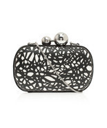 DIANE von FURSTENBERG SPHERE LASER CUT LEATHER GRASS BLACK/WHITE CLUTCH ... - $120.77