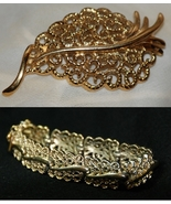 Monet Filigree Demi-Parure Leaf Brooch & Bracelet - $22.00