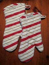 Williams Sonoma 2 New Red & Tan Striped Oven Mitts Set All Cotton Free S... - $29.95