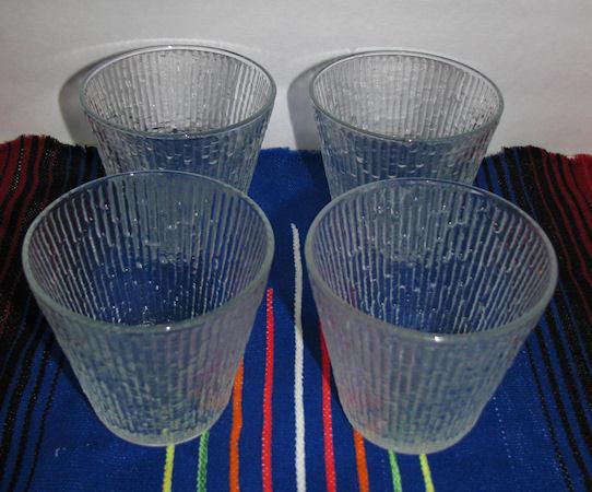 Set of 4 Jeanette Glass Tree Bark Clear Beverage Rocks or Juice Glasses