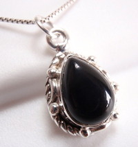 Small Black Onyx Necklace 925 Sterling Silver Rope Style Decor on Sides New - $16.73